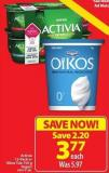 Activia 12-pack or Oikos Tub 750 G Yogurt