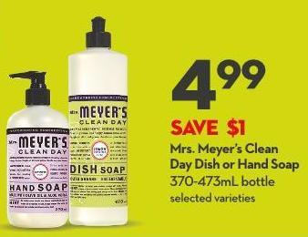 Mrs. Meyer's Clean  Day Dish or Hand Soap 370-473ml Bottle