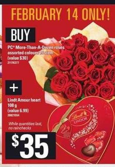 PC More-than-a-dozen Roses - Lindt Amour Heart