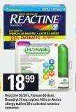 Reactine - 30/36's - Flonase 60 Dose - Benadryl 25 Mg Caplets - 100's Or Aerius Allergy Tablets - 20's