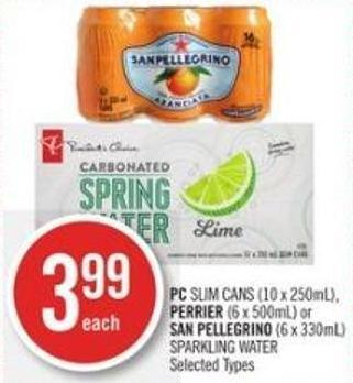 PC Slim Cans (10 X 250ml) - Perrier (6 X 500ml) or San Pellegrino (6 X 330ml) Sparkling Water
