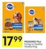 Pedigree Plus 5.4 Kg or Healthy Vitality 8 Kg