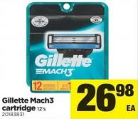 Gillette Mach3 Cartridge - 12's