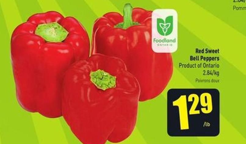 Red Sweet Bell Peppers Product of Ontario 2.84/kg