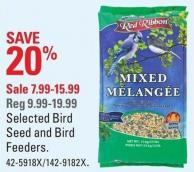 Red Ribbon Selected Bird Seed and Bird Feeders
