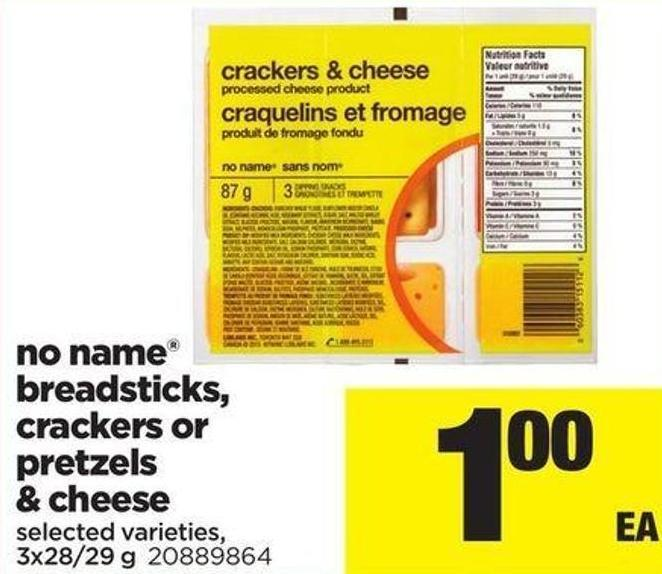No Name Breadsticks - Crackers Or Pretzels & Cheese - 3x28/29 G