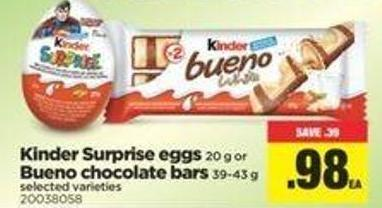 Kinder Surprise Eggs 20 G Or Bueno Chocolate Bars 39-43 Gq
