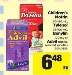 Children's Motrin 30-120 mL - Tylenol 24-100 mL - Benylin 100 mL Or Advil 100 mL