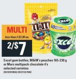 Excel GUM Bottles - M&m's Pouches 165-230 G Or Mars Multipack Chocolate 4's