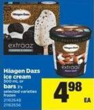 Häagen Dazs Ice Cream - 500 mL or Bars 3's