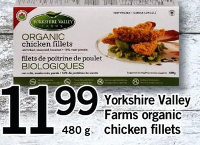 Yorkshire Valley Farms Organic Chicken Fillets  - 480 G