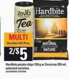 Hardbite Potato Chips - 150 G Or Zevia Tea - 355 Ml