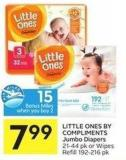 Little Ones By Compliments Jumbo Diapers 21-44 Pk or Wipes Refill 192-216 Pk - 15 Air Miles Bonus Miles
