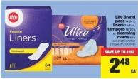 Life Brand Pads 14-24's - Liners 34-64's - Tampons 18/20's Or Cleansing Cloths 50's
