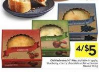 Old Fashioned 4in Pies Available In Apple - Blueberry - Cherry - Chocolate Eclair or Lemon Flavour 114 g