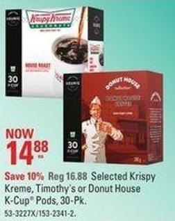 Selected Krispy Kreme - Timothy's or Donut House K-cup Pods - 30-pk
