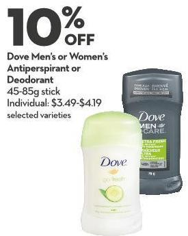 Dove Men's or Women's Antiperspirant or  Deodorant 45-85g Stick