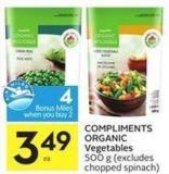 Compliments Organic Vegetables 500 g - 4 Air Miles Bonus Miles