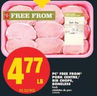 PC Free From Pork Centre/ Rib Chops - Boneless