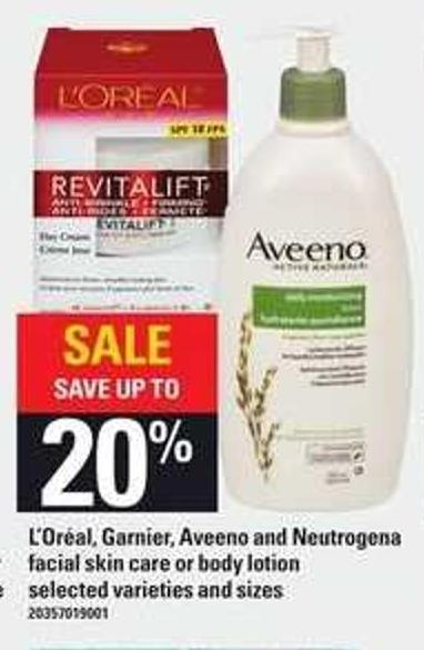 L'oréal - Garnier - Aveeno And Neutrogena Facial Skin Care Or Body Lotion