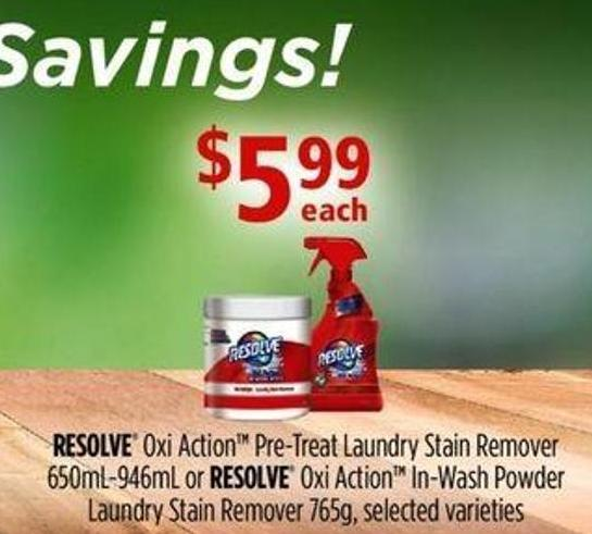 Resolve Oxi Action Pre-treat Laundry Stain Remover - 650ml-946ml Or Resolve Oxi Action In-wash Powder Laundry Stain Remover - 765g