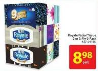 Royale Facial Tissue 2- or 3-ply 9-pack