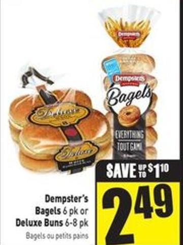 Dempster's Bagels 6 Pk or Deluxe Buns 6-8 Pk