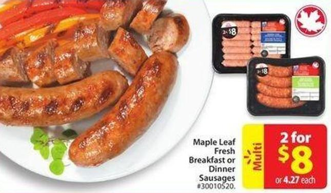 Maple Leaf Fresh Breakfast or Dinner Sausages