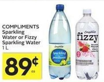 Compliments Sparkling Water or Fizzy Sparkling Water