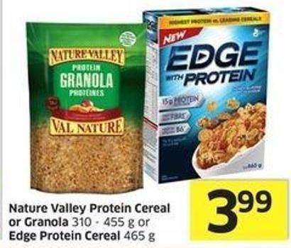 Nature Valley Protein Cereal or Granola 310 - 455 g or Edge Protein Cereal 465 g