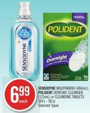 Sensodyne Mouthwash (484ml) - Polident Denture Cleanser (125ml) or Cleansing Tablets (84's - 96's)