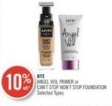 Nyx Angel Veil Primer or Can't Stop Won't Stop Foundation