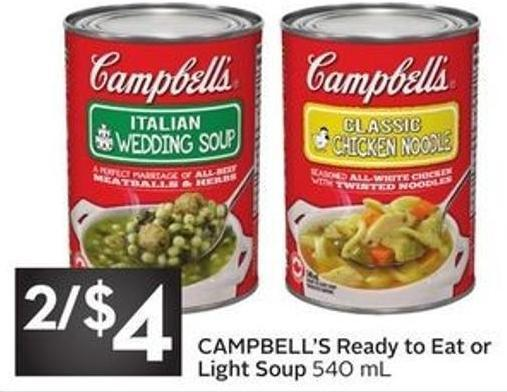 Campbell's Ready To Eat or Light Soup