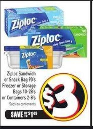 Ziploc Sandwich or Snack Bag 90's Freezer or Storage Bags 10-28's or Containers 2-8's