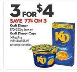Kraft Dinner 175-225g Box or Kraft Dinner Cups 58g Pkg