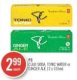 PC Club Soda - Tonic Water or Ginger Ale 12 X 355ml