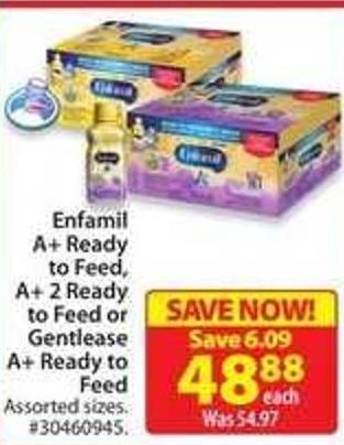 Enfamil A+ Ready To Feed - A + 2 Ready To Feed or Gentlease A + Ready To Feed