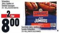 Schneiders Juicy Jumbos Or Smoked Sausages 375-400 g