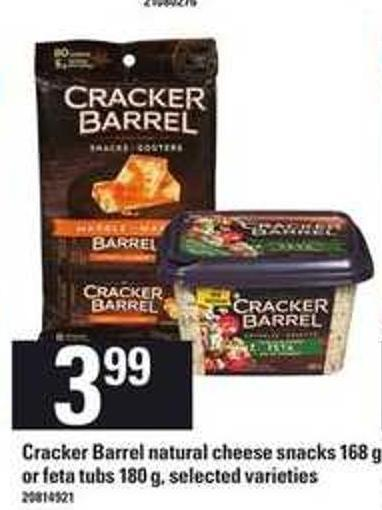 Cracker Barrel Natural Cheese Snacks - 168 G Or Feta Tubs - 180 G