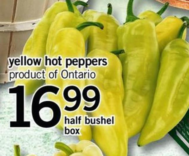 Yellow Hot Peppers - Half Bushel Box