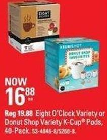 Eight O'clock Variety or Donut Shop Variety K-cup Pods - 40-pack