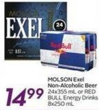 Molson Exel Non-alcoholic Beer 24x355 mL or Redbull Energy Drinks 8x250 mL