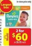 Pampers Baby Dry Cruisers or Swaddlers Super Econo Diapers