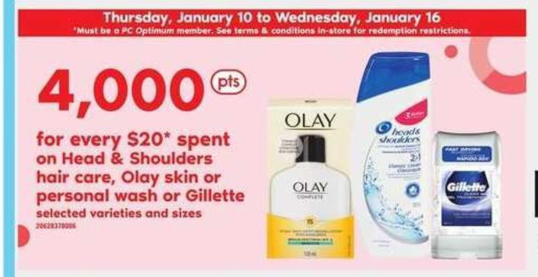 Head & Shoulders Hair Care - Olay Skin Or Personal Wash Or Gillette