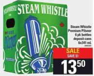 Steam Whistle Premium Pilsner 6 Pk Bottles - 6x341 mL