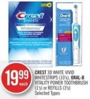 Crest 3D White Vivid Whitestrips (10's) - Oral-b Vitality Power Toothbrush (1's) or Refills (3's)