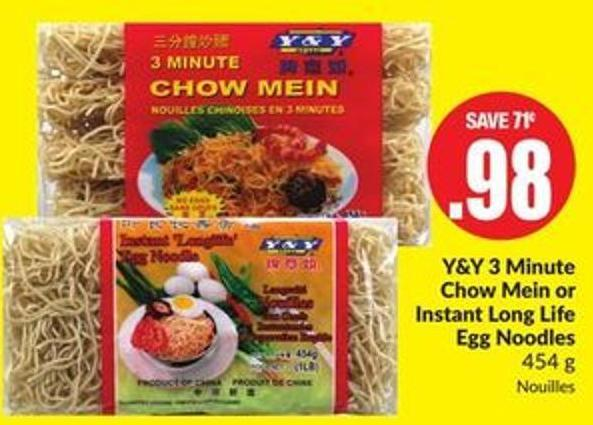 Y&y 3 Minute Chow Mein or Instant Long Life Egg Noodles 454 g