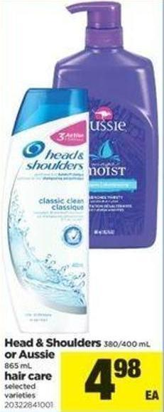 Head & Shoulders 380/400 mL or Aussie 865 mL Hair Care