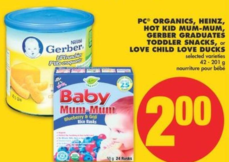 PC Organics - Heinz - Hot Kid Mum-mum - Gerber Graduates Toddler Snacks - Or Love Child Love Ducks - 42 - 201 G