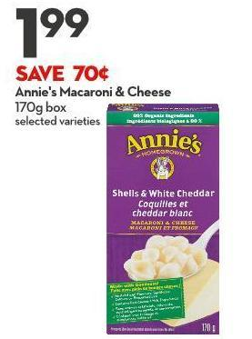 Annie's Macaroni & Cheese 170g Box